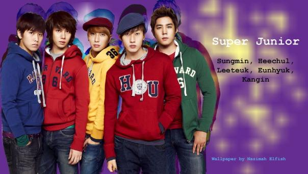 Sungmin, Heechul, Leeteuk, Eunhyuk, Kangin SuJu SPAO Wallpaper