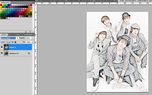 SHINee making colored pencil effect 3