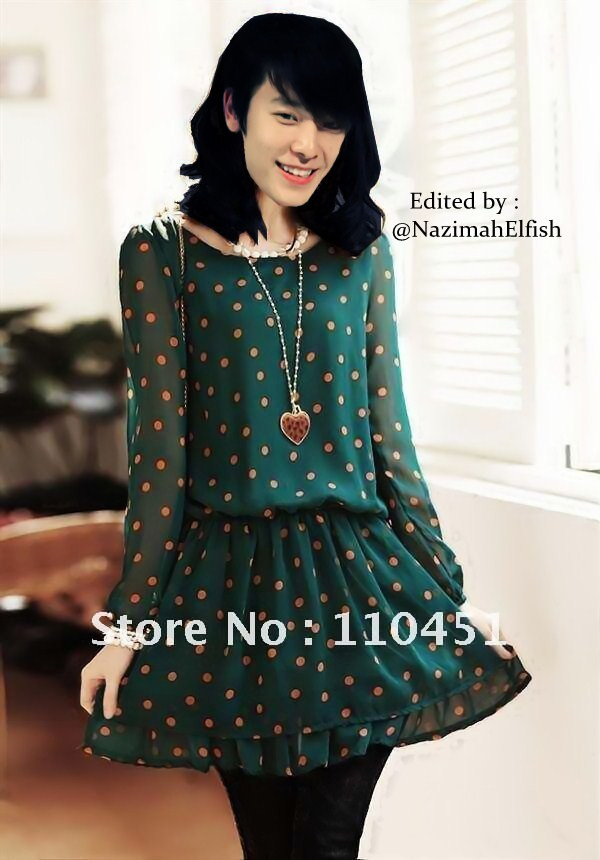 Donghae as Ulzzang free shipping new arrival Korean dress ladies dress chiffon long sleeve dress hot sale