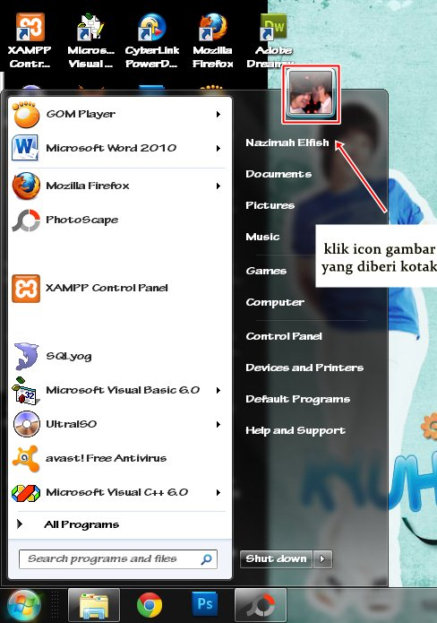 cara memberi password  pada windows 7