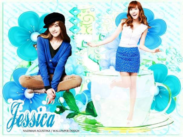 jessica flowers in the glass happy wallpaper blue green cute