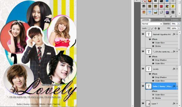 13 [Tutorial and Stock] Membuat Cover Fanfic Dengan Banyak Cast Menggunakan Photoshop sunny suho taemin krystal minho sulli lovely