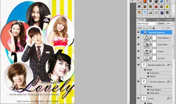 14 [Tutorial and Stock] Membuat Cover Fanfic Dengan Banyak Cast Menggunakan Photoshop sunny suho taemin krystal minho sulli lovely