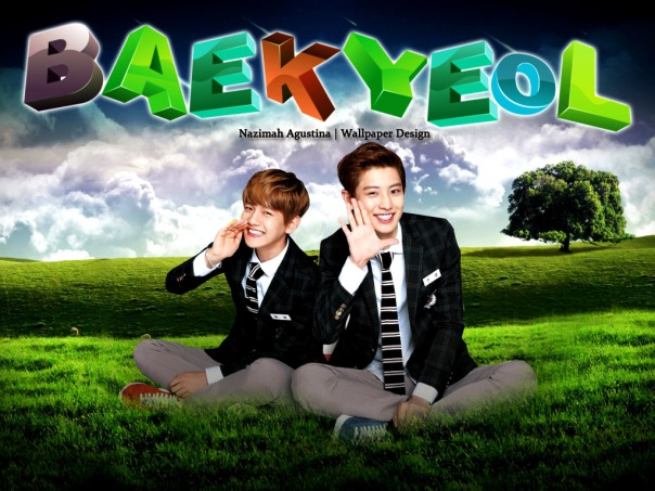 baekyeol wallpaper landscape nature 3d png text exo-k baekhyun chanyeol