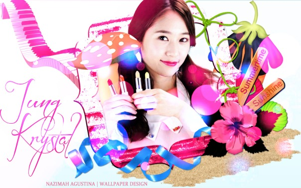 krystal jung cute pink wallpaper frame by nazimah agustina