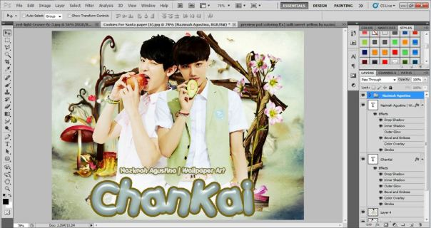 tutorial how to make cute wallpaper using photoshop cs5 chanyeol kai exo 4