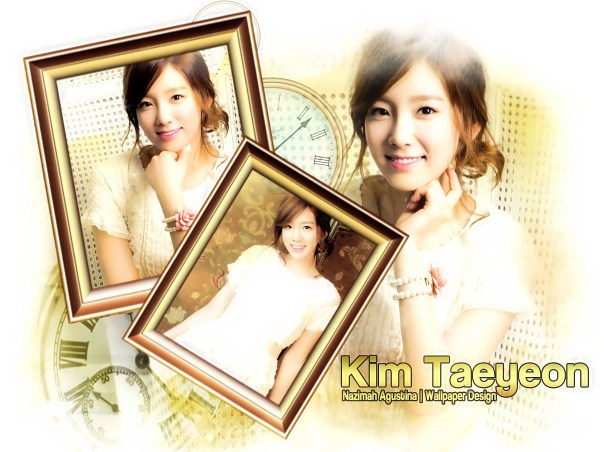 kim taengo calendar snsd girls generation kid leader vintage yellow and white wallpaper