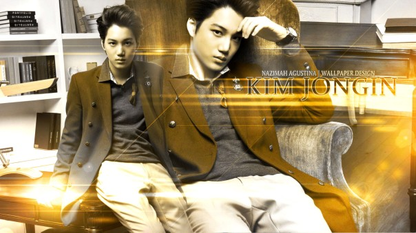 KAI exo kim jongin orange vintage ivyclub wallpaper by nazimah agustina