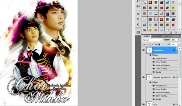 how to make brush color splash art using adobe photoshop choi minho shinee 3