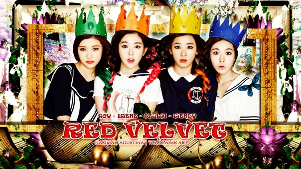 RED VELVET frame happiness orange blue pink green debut 2014 wallpaper by nazimah agustina