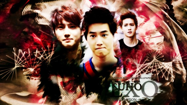 SUHO exo kim junmyeon leader wallpaper abstract red black by nazimah agustina