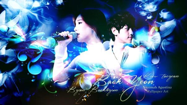 baekyeon byun baekhyun kim taeyeon exo snsd couple exoshidae dating wallpaper blue by nazimah agustina