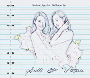 f(x) sulli and victoria sketch art colored pencil by nazimah agustina