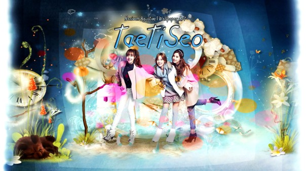 taetiseo cute fantasy blue scrapbook wallpaper taeyeon tiffany seohyun snsd by nazimah agustina