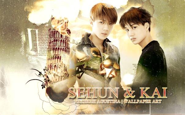 EXO HUNKAI kaihun wallpaper vintage romantic kai sehun kim oh by nazimah agustina