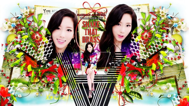 snsd taeyeon shake that brass kim girls' generation cute flower wallpaper by nazimah agustina
