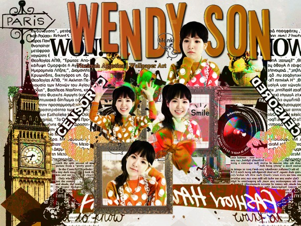 wendy son red velvet for her bhritday orange vintage scrapbook wallpaper art graphic kpop by nazimah agustina