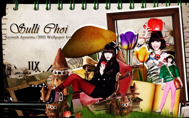 choi sulli scrap brown wallpaper f(x) jinri cute by nazimah agustina