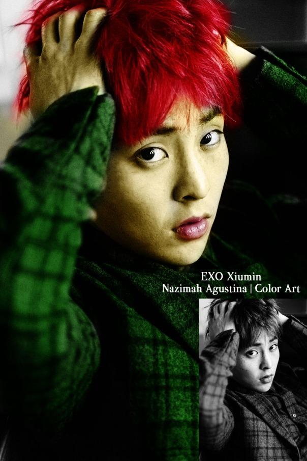 colorize black & white photo to rgb xiumin exo teaser photos by nazimah agustina