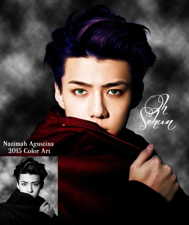 oh sehun exo color manipulation colorize black white photo to rgb art by nazimah agustina