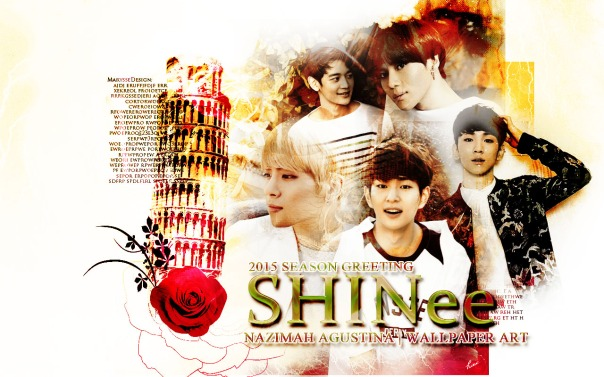 Shinee 2015 season greeting wallpaper ot5 onew jonghyun key minho taemin by nazimah agustina