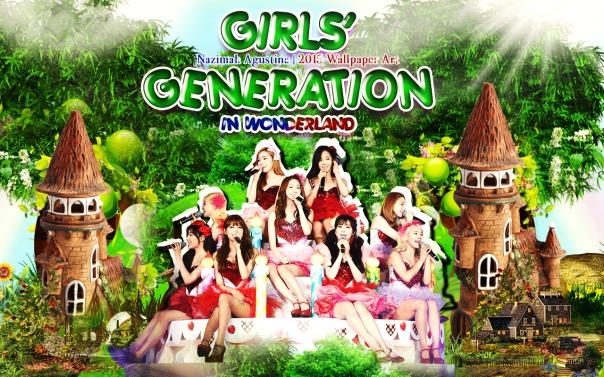 snsd in wondrerland girls' generation wallpaper ot9 by nazimah agustina
