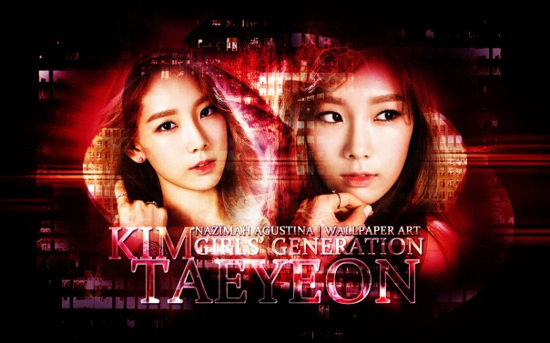 taeyeon red abstract light graphic art wallpaper by nazimah agustina