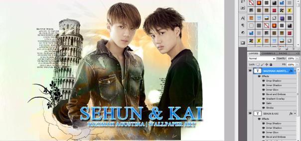 tutorial stock how to make soft vintage wallpaper using adobe photoshop exo hunkai kaihun sekai oh sehun kim kai 2015 4