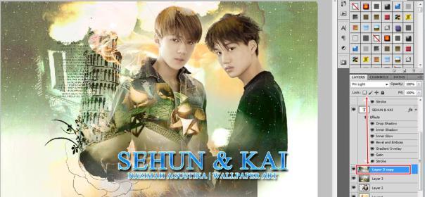 tutorial stock how to make soft vintage wallpaper using adobe photoshop exo hunkai kaihun sekai oh sehun kim kai 2015 5_1
