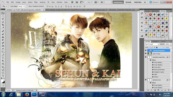 tutorial stock how to make soft vintage wallpaper using adobe photoshop exo hunkai kaihun sekai oh sehun kim kai 2015 6