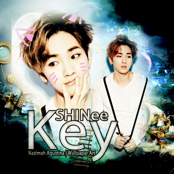 key shinee kim kibum blue graphic art cat by nazimah agustina