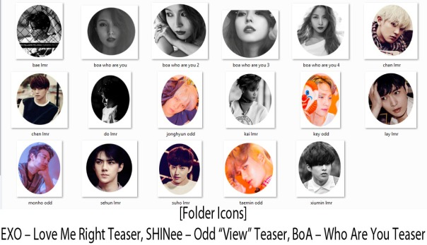 "[Folder Icons] EXO – Love Me Right Teaser, SHINee – Odd ""View"" Teaser, - BoA – Kiss My Lips ""Who Are You"" Teaser"